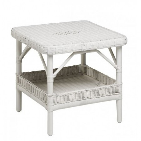 White rattan table