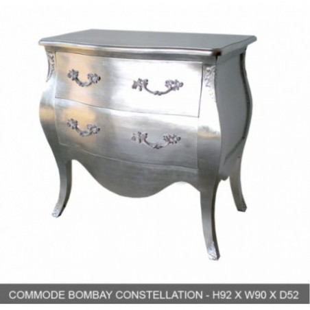Baroque Commode 2 Drawer Chest Bombay Argente