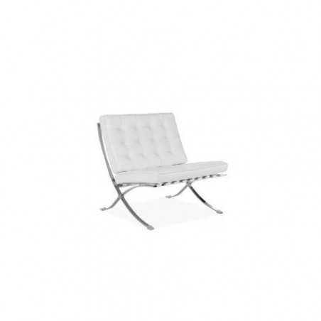 Barcelona design armchair in white leather