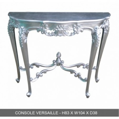Rental console versailles in silver wood