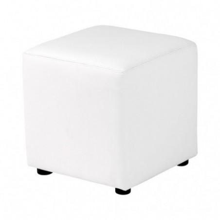 Square pouf in white imitation