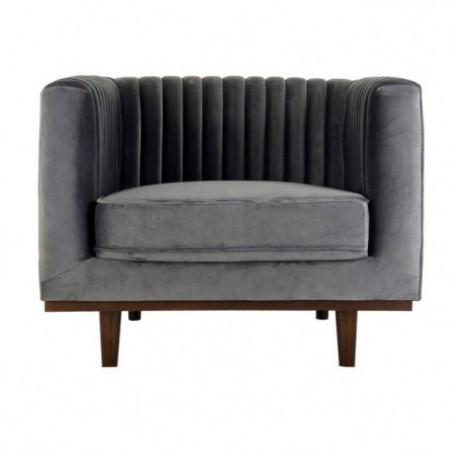 Gray velvet armchair rental