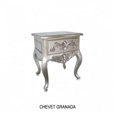 Rent Bedside Granada In Silver Wood