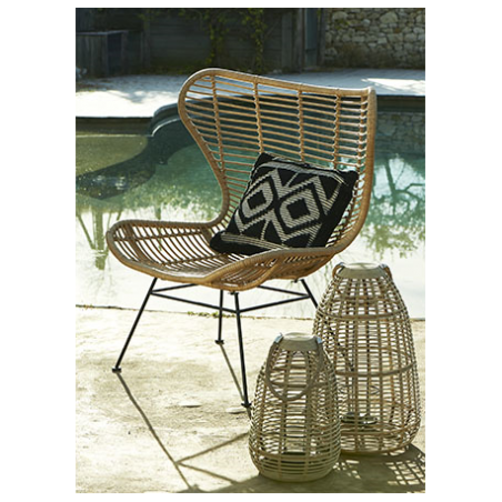 Black rattan armchair for rent