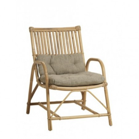 Natural cane armchair and cushion