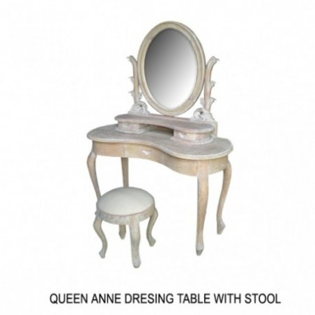 Queen Anne Wooden Dressing Table Rental Ceruse