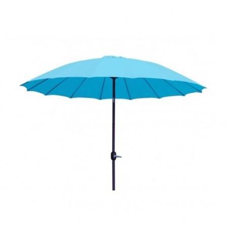 Blue canvas parasol for rent