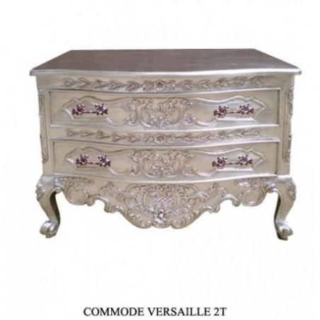 Silver Baroque Commode Versailles 2 Drawers