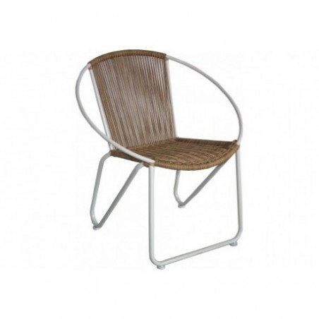 Rounded imitation rattan armchair