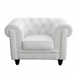Chesterfield White Leather Armchair