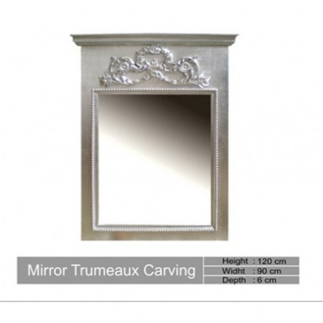 Carved Silver Mirror Trumeau Carving
