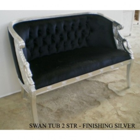 Swap 2-Seater Bench Seat Velvet Black And Wood Silver