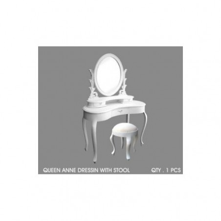 Queen Anne white wood makeup table rental