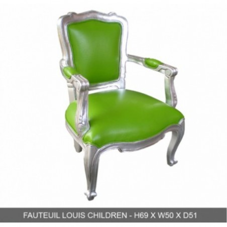 Silver  Green Wood Children Chair