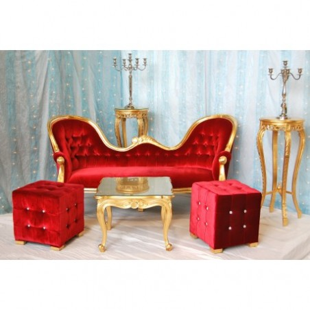 Wedding trone for rent gilded and red velvet