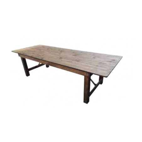 Folding wooden rustic style table for rent