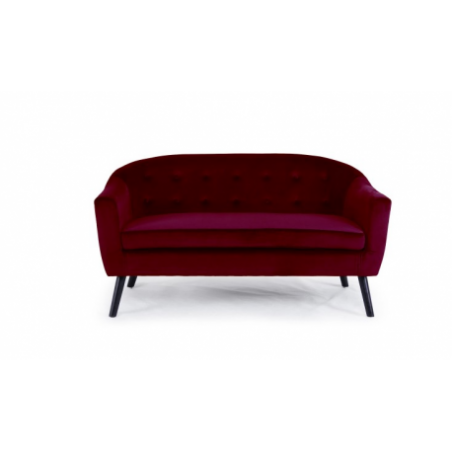 Scandinavian sofa rental in burgundy red velvet