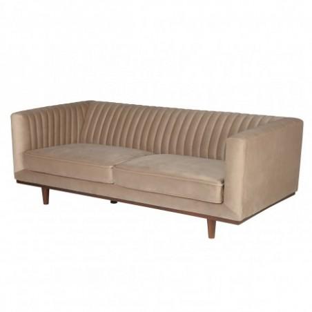 2 seater beige velvet sofa