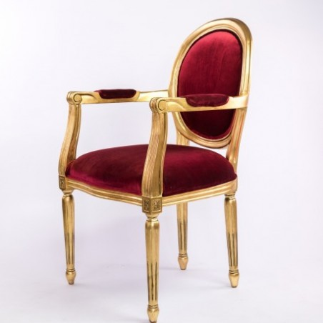Golden and red convertible armchair