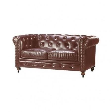 Vintage brown leather sofa rental