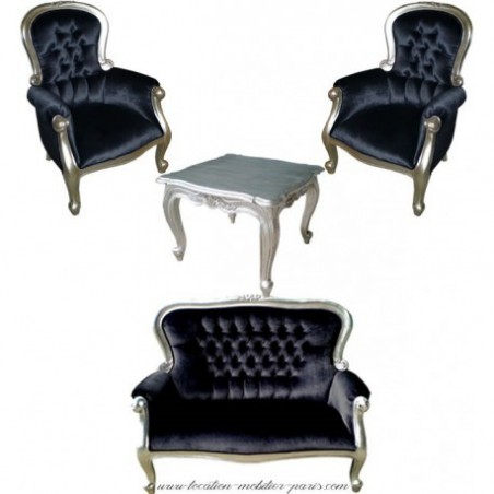 Black baroque armchair