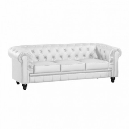 3 seater white leather chesterfield sofa